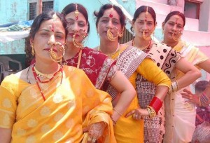 Bunch of women in their traditional nose pins