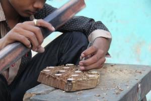 Wooden blocks in making