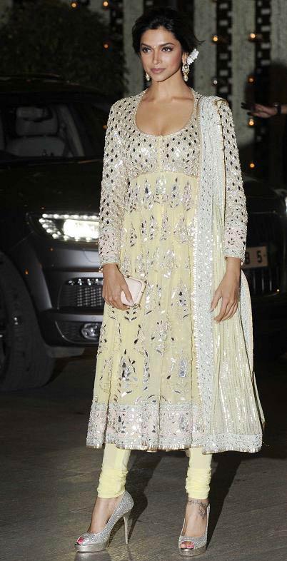 Deepika Padukone in silver pep toe heels