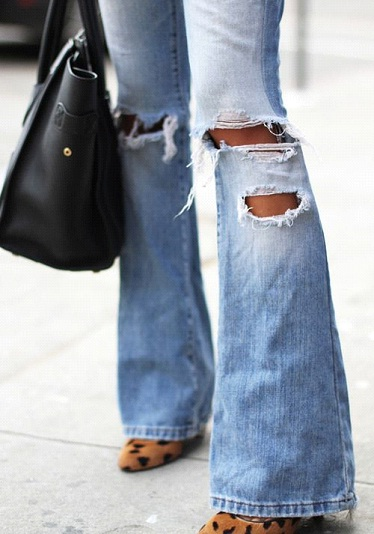 The Bell Bottom Style with Ripped effect
