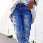 Boyfriend Fit with ripped effect