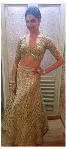 Deepika Padukone in Golden lehnga