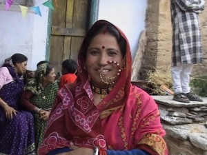 Women in her traditional nose pin during a wedding