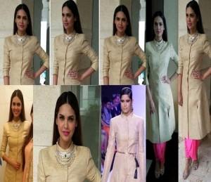 Actress Isha Gupta at a store launch in Neeta Lulla Khadi jacket