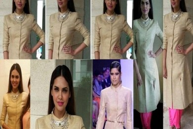Actress Isha Gupta at a store launch in Neeta Lulla Khadi jacket