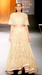 Model in Rahul Mishra creation at Amazon Couture week