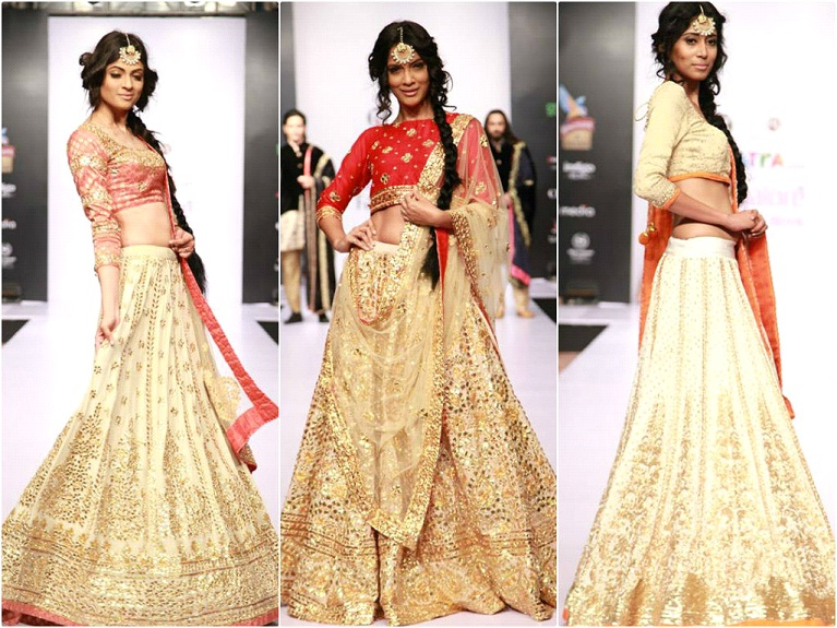 Models in Golden lehngas with a hint of contrast colors