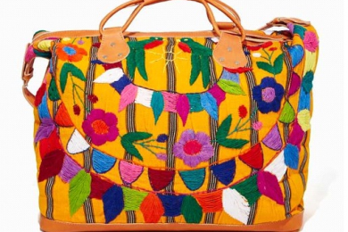 Multicolor Hand embroidery on leather