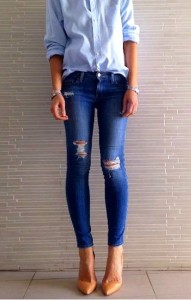 Ripped Skinny Fit Denim, ripped effect on knee