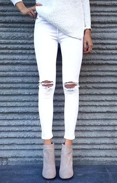 Ripped Skinny Fit Denim, ripped effect on knee and asymmetric torn out effect