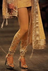 Straight churidaar with embroidered look