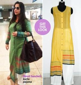Vidya Balan at airport Wearing Khadi from the designer Shruti Sancheti