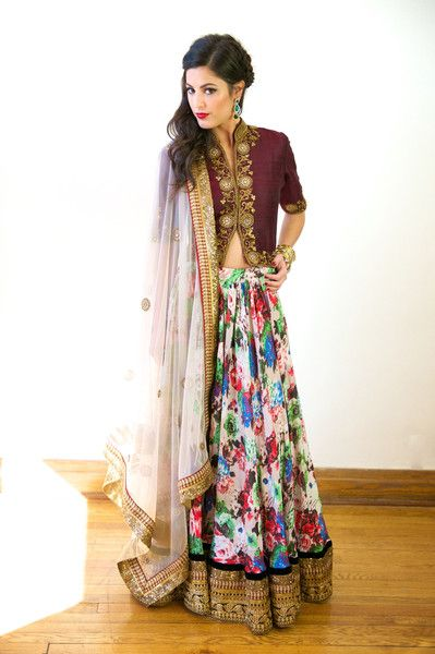 Printed lehnga in crepe and shirt style long choli