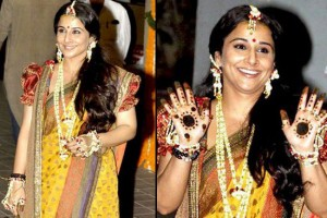 Vidya Balan in floral jewelry at her mehndi