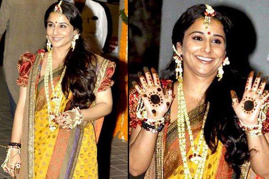 Vidya Balan in floral jewelry at her mehndi
