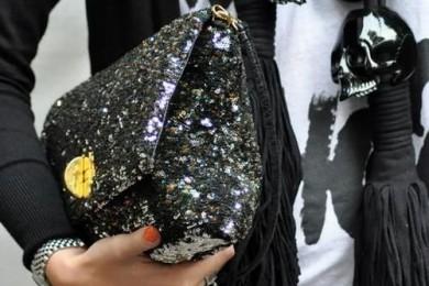 Black Sequence Sling Bag