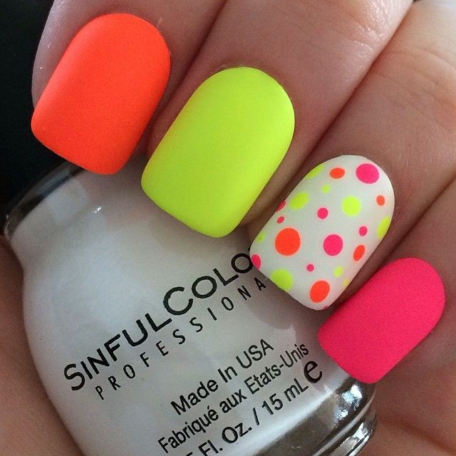 Multicolor Neon shades - Neon Nail Art - Burst Of Colors Fashion In India - Threads
