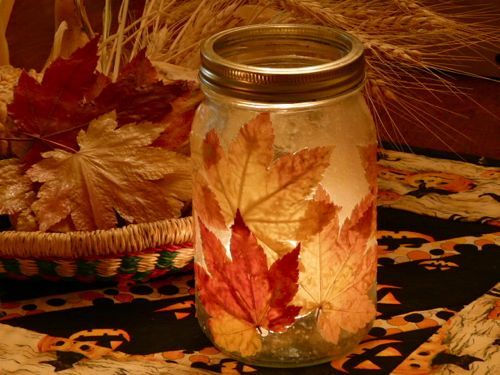 Maple Leaf Candle Jar