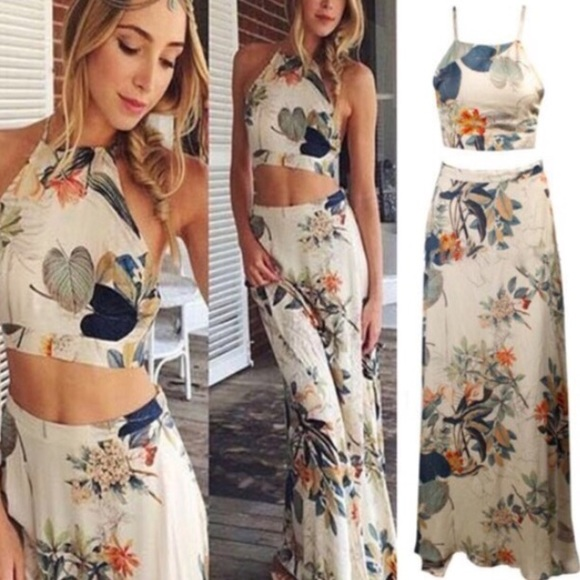 Printed crop top and skirt