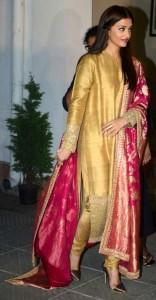 Aishwariya in Golden Tussar Kurta