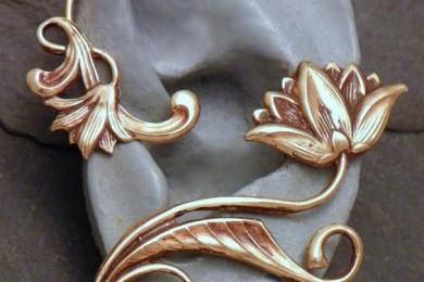 Brass Floral Ear Cuff