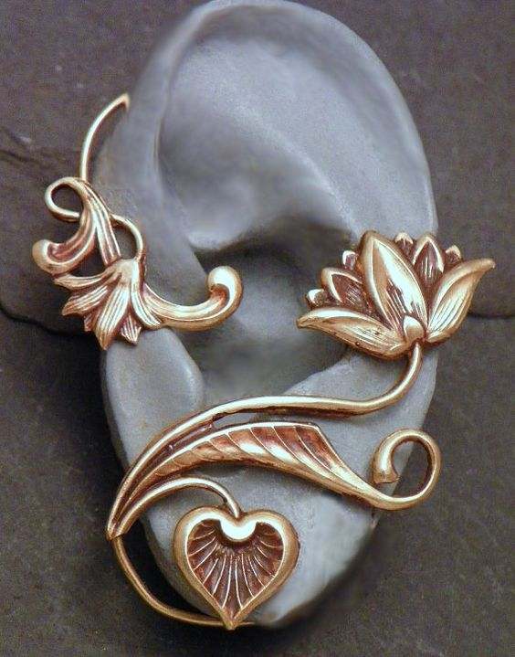 Brass Floral Ear Cuff