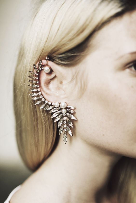 Crystal Floral Ear Cuff