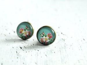 Floral painted earrings