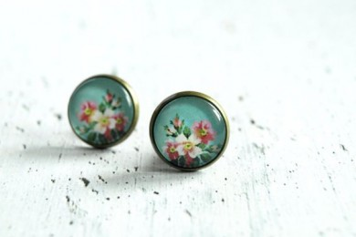 Floral painted earrings