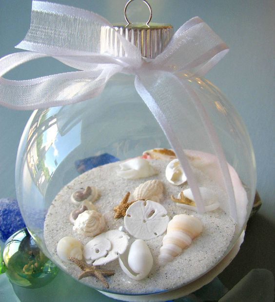 Glass Ornament with shells and sand