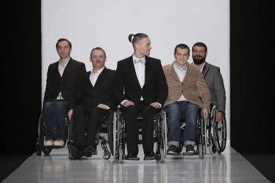 Male disabled models on runway