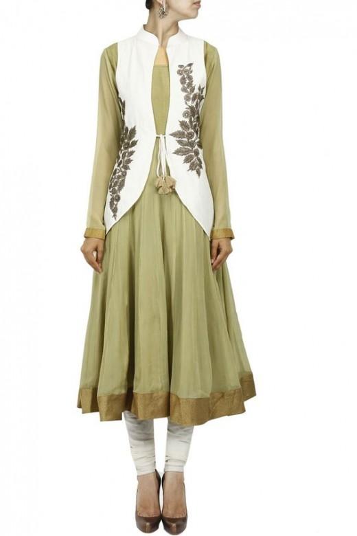long waiscoat with Anarkali