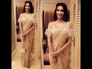 Sonam Kapoor in frill blouse
