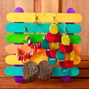 Ice cream sticks jewelry stand