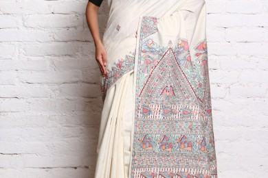 Madhubani painted Saree