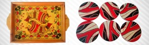 Madhubani painted tray and coasters