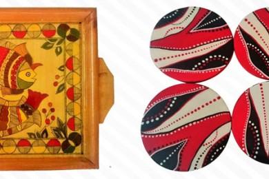 Madhubani painted tray and coasters