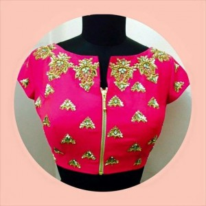 Stylised zipper saree blouse