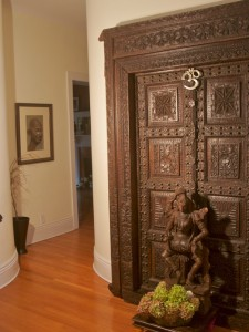 Wooden doors or figures