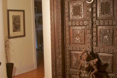Wooden doors or figures