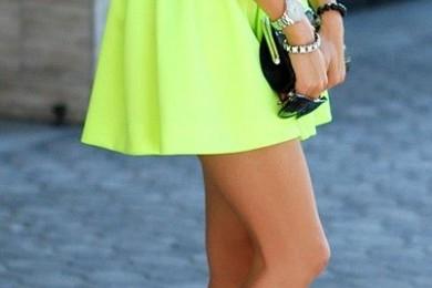 white T-shirt and neon skirt