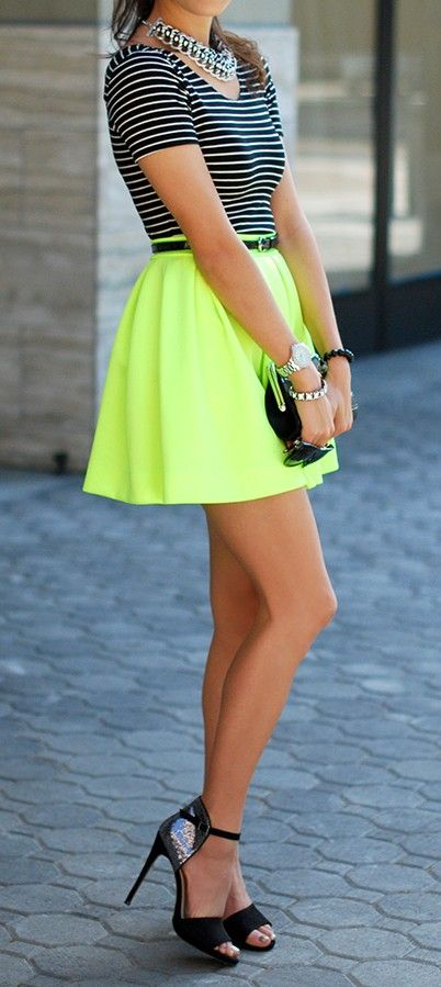 white T-shirt and neon skirt