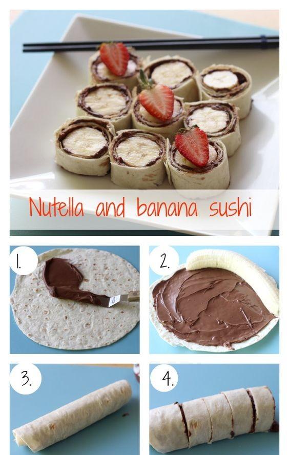 Banana Nutella Sushi