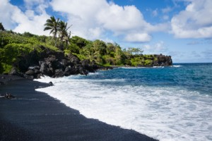 Black sand beach, Hawaii.