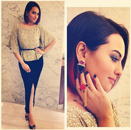 Sonakshi sinha in metallic ensemble