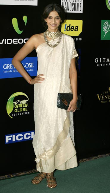 Sonam Kapoor In white draped dress