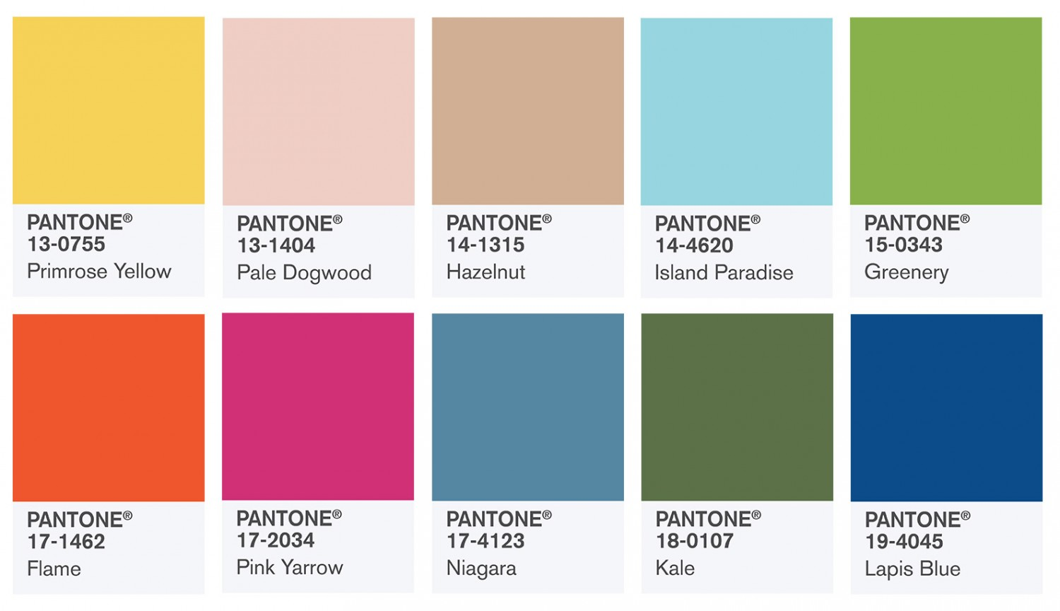 Pantone color swatches,fashion color report-fall 2017