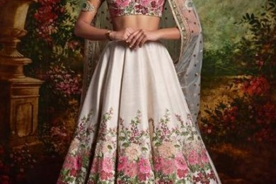 All white floral lehnga
