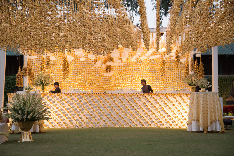 All white gota wedding decor
