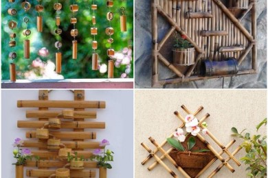 Bamboo wall mounts and wind chimes